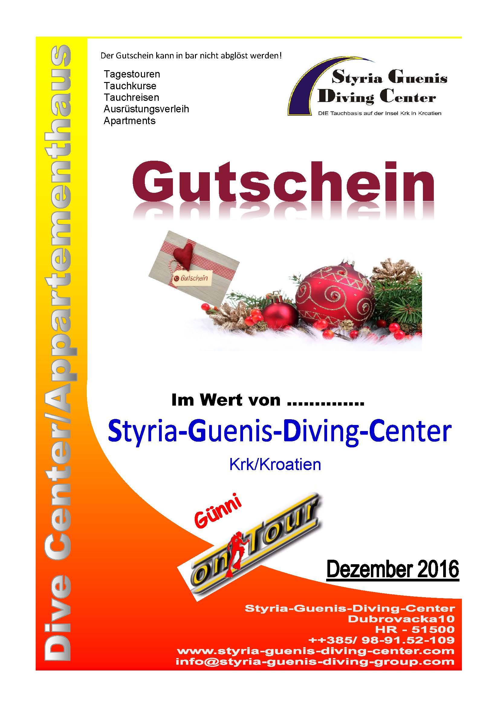 Weihnachten In Kroatien.Gutscheine Günis Diving Center